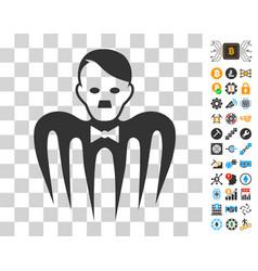 Hitler croupier monster icon with bonus vector