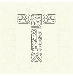 Letter t golden monogram design element vector