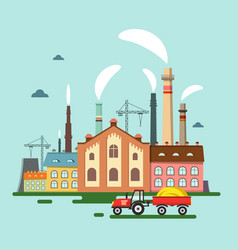 old factory with chimney smoke retro flat design vector image vector image