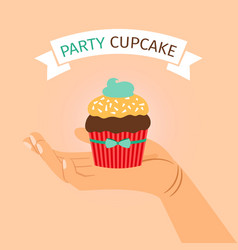 party banner with hand holding cupcake vector image