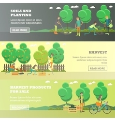 set of gardening concept horizontal banners vector image