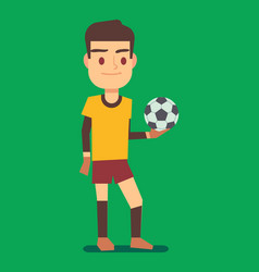 Soccer player holding a ball green field vector