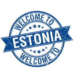 Welcome to estonia blue round ribbon stamp vector