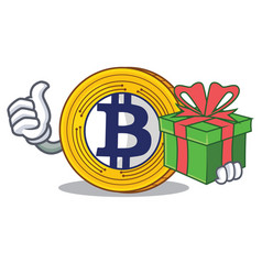 With gift bitcoin gold character cartoon vector