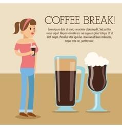Woman coffee break shop icon graphic vector