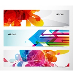 Set of gift cards with arrows and abstract objects vector image