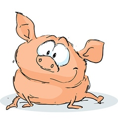 Cute pig character sitting on white background vector