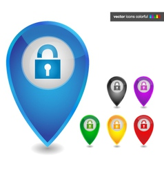 Map pointer with lock icon colorful vector image