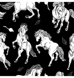 Hand drawn seamless background with horse vector