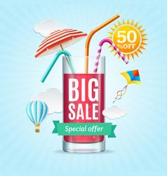 Big sale summer concept banner card or poster vector