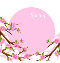 Spring card with branches of tree and sakura vector