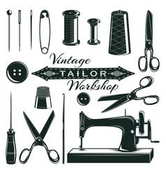 Vintage tailor elements set vector