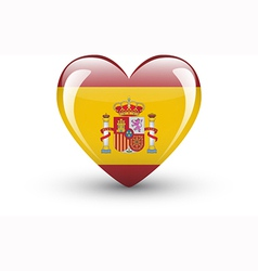 Heart-shaped icon with national flag of spain vector