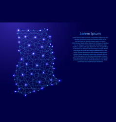 Map of ghana from polygonal blue lines and glowing vector