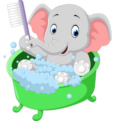 Cute elephant bathing time cartoon vector