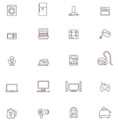 Domestic appliances icon set vector