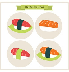 Flat sushi set circle icons vector