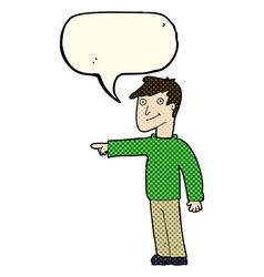 Cartoon man pointing with speech bubble vector