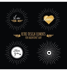 Seet of retro design elements with sunbursts and vector