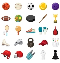 Sport game icons set cartoon style vector