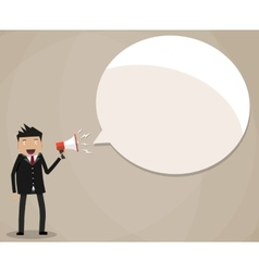 Businessman holding megaphone speech bubble vector