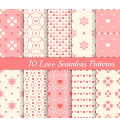 10 different seamless patterns love collection vector