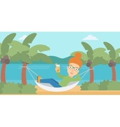 Woman chilling in hammock vector