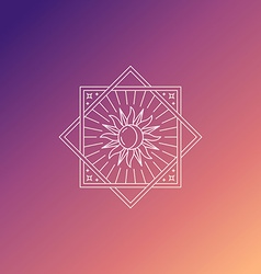 abstract emblem in trendy linear style with sun vector image