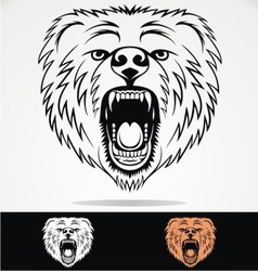 Angry bear face tribal vector