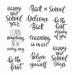 Back to school typography quote set vector