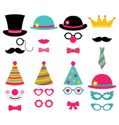 Birthday party photo booth props vector