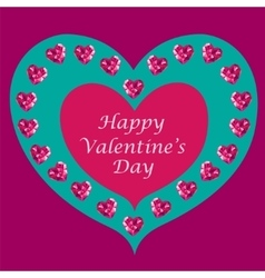 Crystal hearts Valentine day vector image