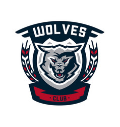 Emblem logo sticker aggressive wolf ready to vector