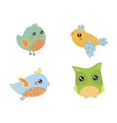 Four Cute Small Birds Collection vector image vector image