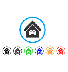 Game center building rounded icon vector