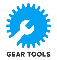 Gear tools flat icon with caption vector
