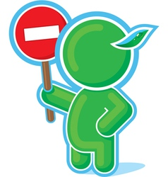 green hero with stop sign vector image vector image
