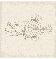 Grunge design template of aggressive tropical fish vector