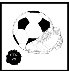 hand drawn graphic football boots with ball on vector image vector image