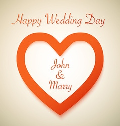 Happy Wedding Day Background with Heart Love Shape vector image vector image