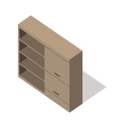 Isometric wooden cupboard vector