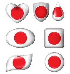 Japanese Flag in various shape glossy button vector image vector image