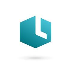 Letter l cube logo icon vector