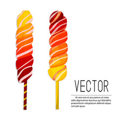 Lollipop ombre candies yellow vector