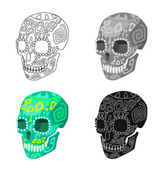 Mexican calavera skull icon in cartoon style vector