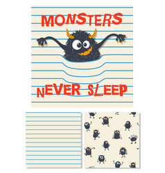 Monsters never sleep surface design vector