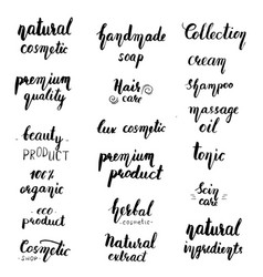 natural cosmetic lettering set vector image vector image