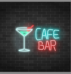 Neon cafe and bar sign on a brick wall background vector