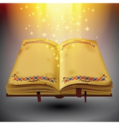 Open magic book with the light and sparkles vector image vector image