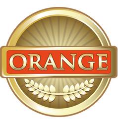 Orange fruit gold label vector
